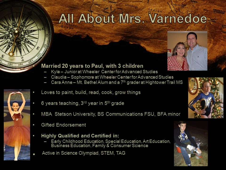 Married 20 years to Paul, with 3 children –Kyle – Junior at Wheeler Center for Advanced Studies –Claudia – Sophomore at Wheeler Center for Advanced Studies –Cara Anne – Mt.