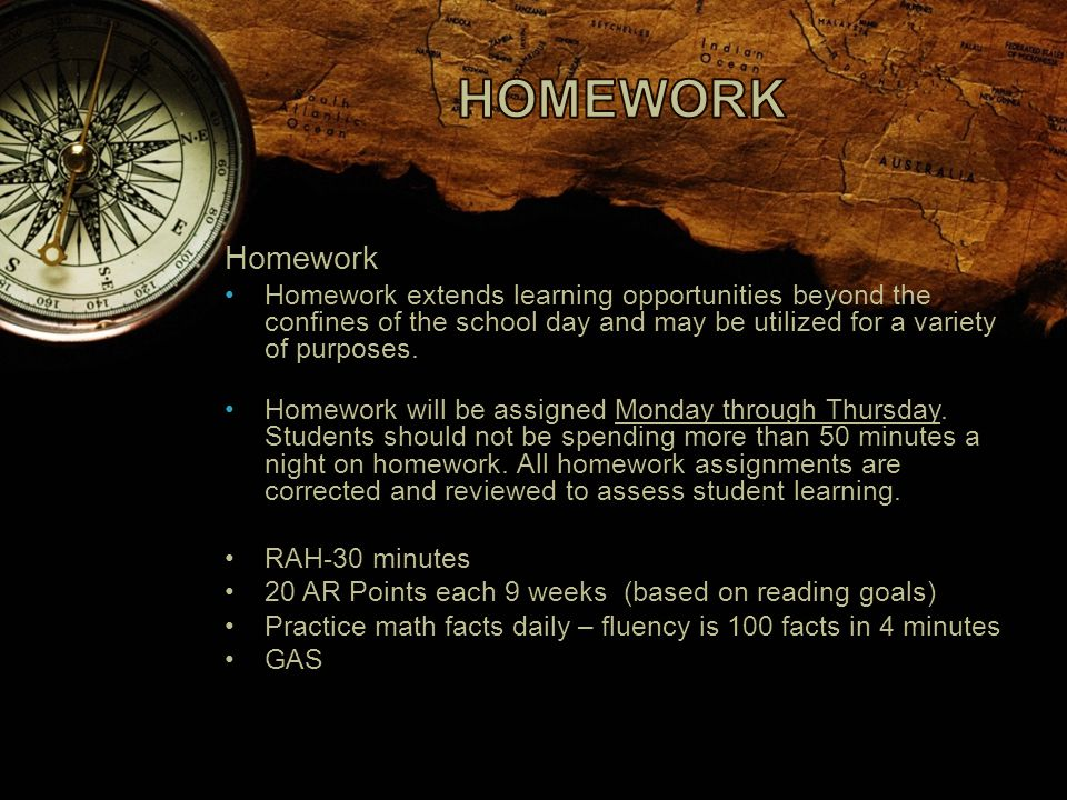 Homework Homework extends learning opportunities beyond the confines of the school day and may be utilized for a variety of purposes.