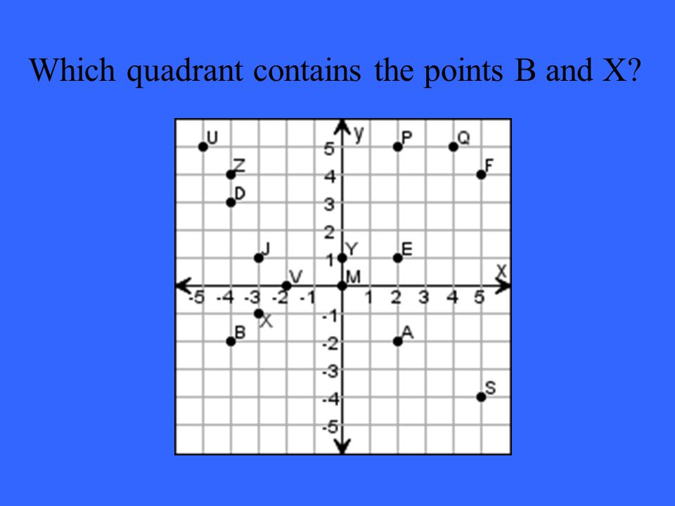 Which quadrant contains the points B and X