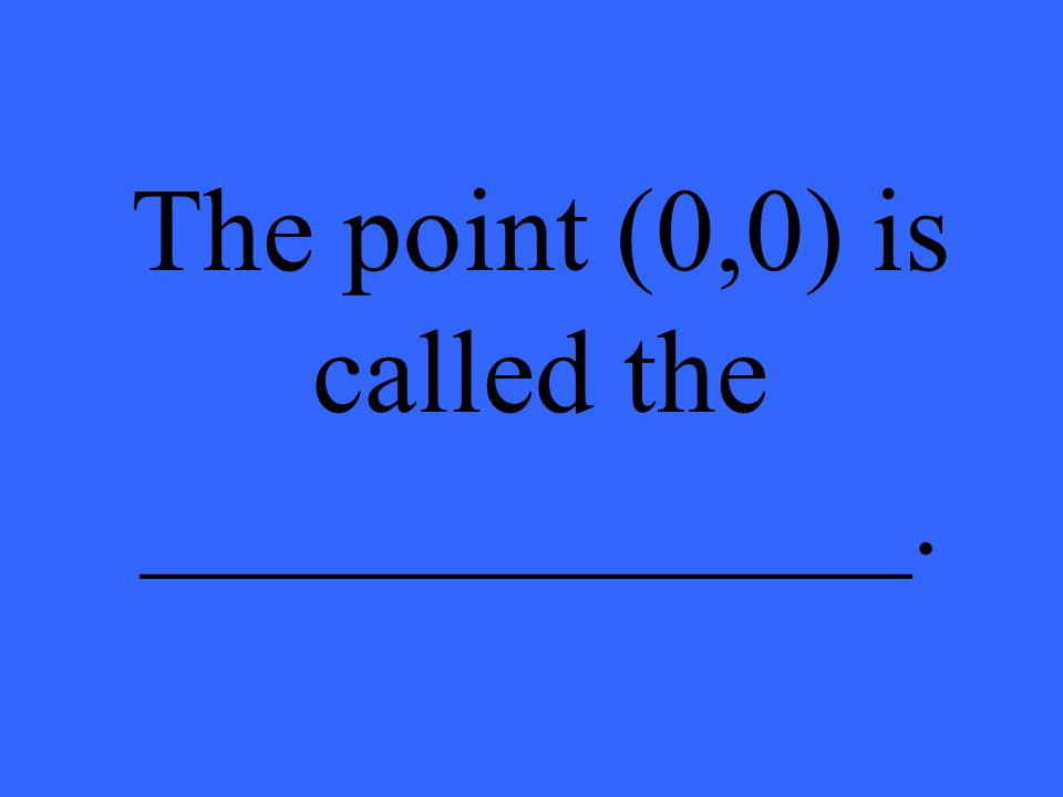 The point (0,0) is called the _____________.
