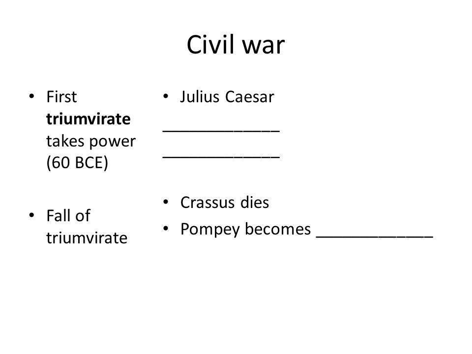 Civil war Caesar marches on Rome, starting _____________________ Pompey is killed in _____________ ______________ gains complete control of Rome Julius Caesar passes popular reforms Senators later assassinate __________________