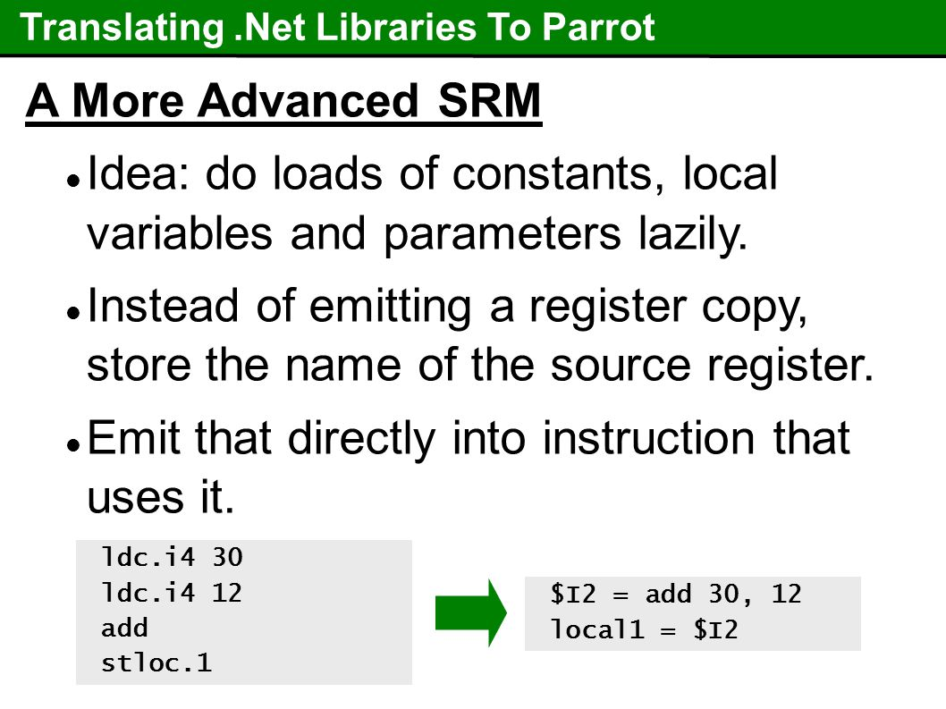 Translating.Net Libraries To Parrot A More Advanced SRM Idea: do loads of constants, local variables and parameters lazily.
