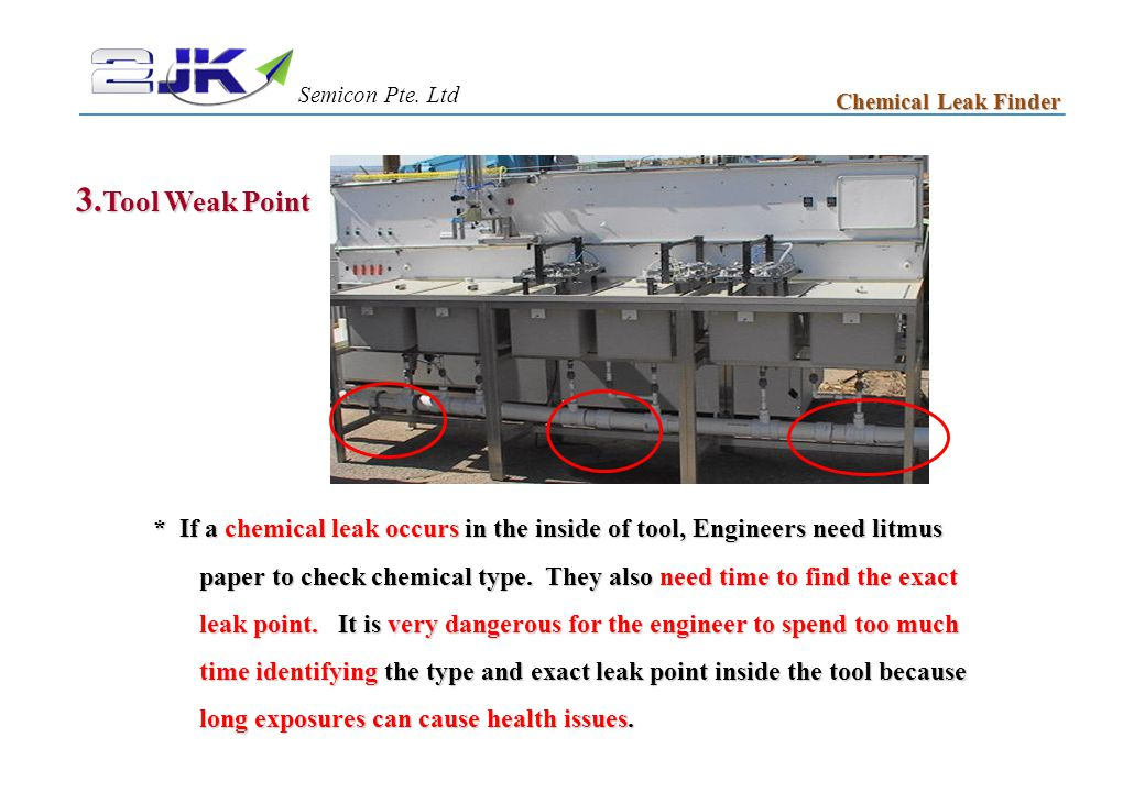 3. Tool Weak Point * If a chemical leak occurs in the inside of tool, Engineers need litmus paper to check chemical type. They also need time to find