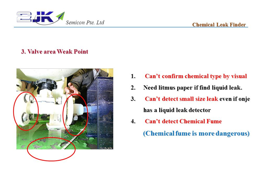 3. Valve area Weak Point 1. Can't confirm chemical type by visual 2.Need litmus paper if find liquid leak. 3. Can't detect small size leak even if onj