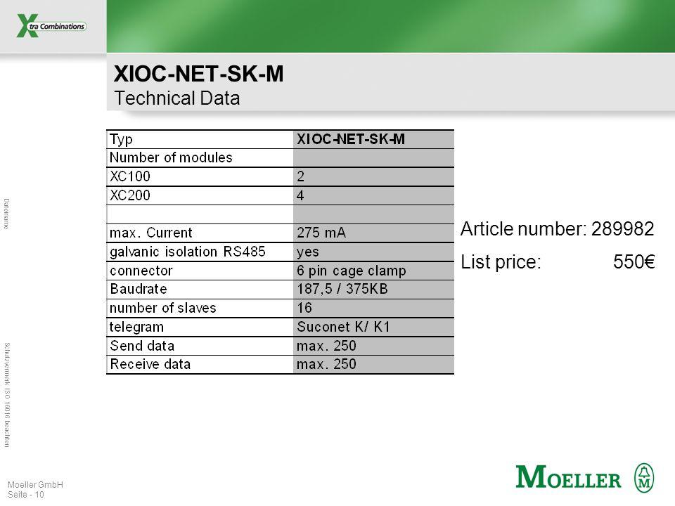 Dateiname Schutzvermerk ISO 16016 beachten Moeller GmbH Seite - 10 XIOC-NET-SK-M Technical Data Article number: 289982 List price: 550€