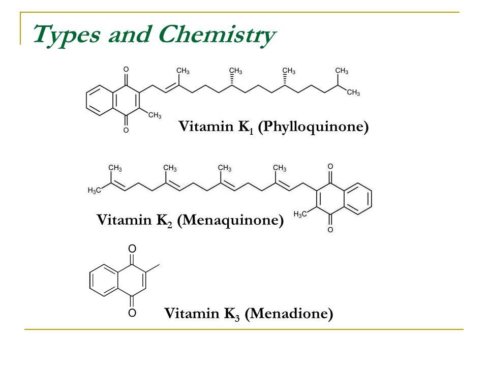 Types and Chemistry Vitamin K 1 (Phylloquinone) Vitamin K 2 (Menaquinone) Vitamin K 3 (Menadione)