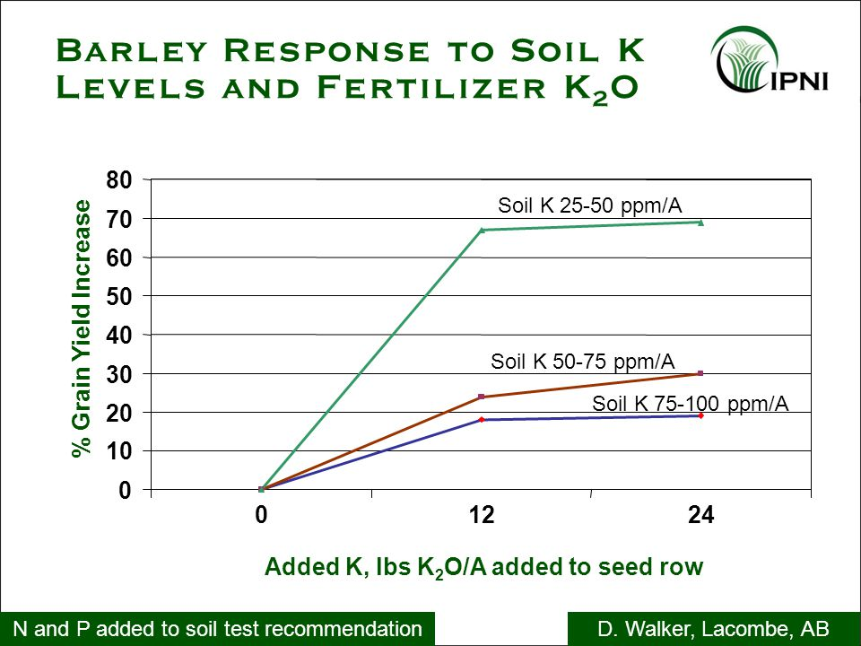 Barley Response to Soil K Levels and Fertilizer K 2 O N and P added to soil test recommendationD. Walker, Lacombe, AB Soil K 50-75 ppm/A Soil K 75-100