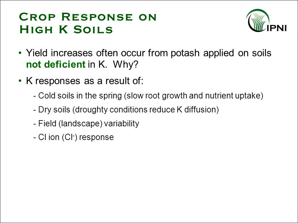 Crop Response on High K Soils Yield increases often occur from potash applied on soils not deficient in K. Why? K responses as a result of: - Cold soi