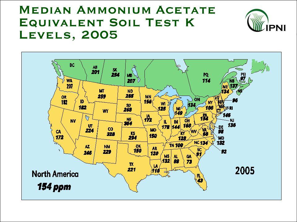 Median Ammonium Acetate Equivalent Soil Test K Levels, 2005