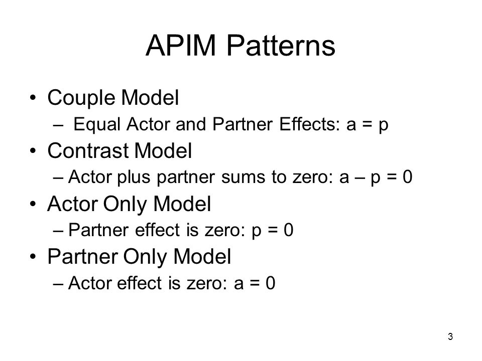Suggested by Kenny and Ledermann (2010) k is the ratio of the partner effect to the actor effect or p/a k is named after Larry Kurdek, a pioneer in the study of dyadic data Special cases of k: –k is 1, couple model –k equal to −1, contrast model –k equal to zero, actor-only model The Parameter k 4