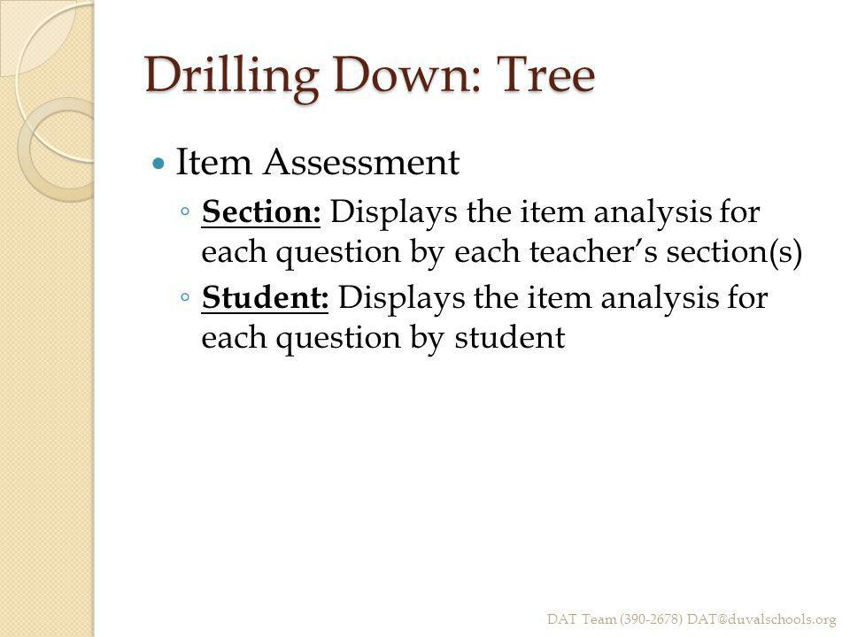 Drilling Down: Tree Item Assessment ◦ Section: Displays the item analysis for each question by each teacher's section(s) ◦ Student: Displays the item analysis for each question by student DAT Team (390-2678) DAT@duvalschools.org