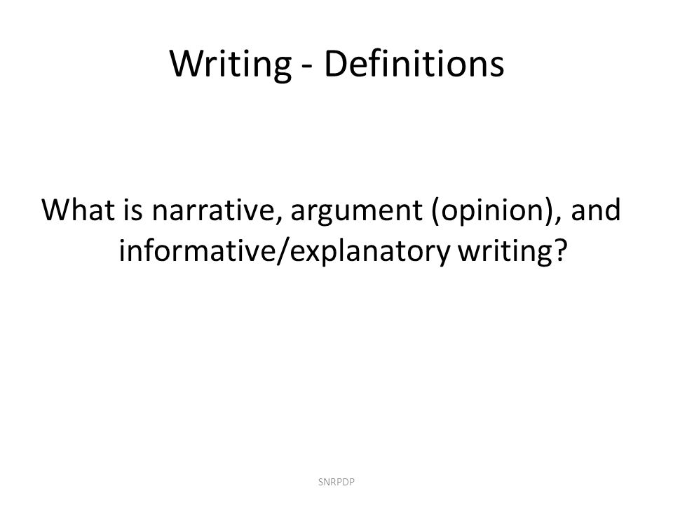 Narrative Writing Common Core Standards SNRPDP Grade K3.