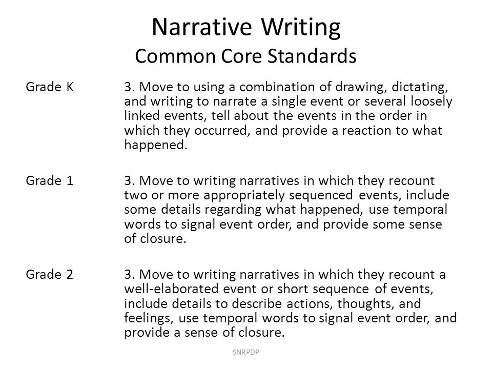 SNRPDP GradeNV State StandardCC State Standard #2 K Drawing or writing about familiar experiences and/or events.