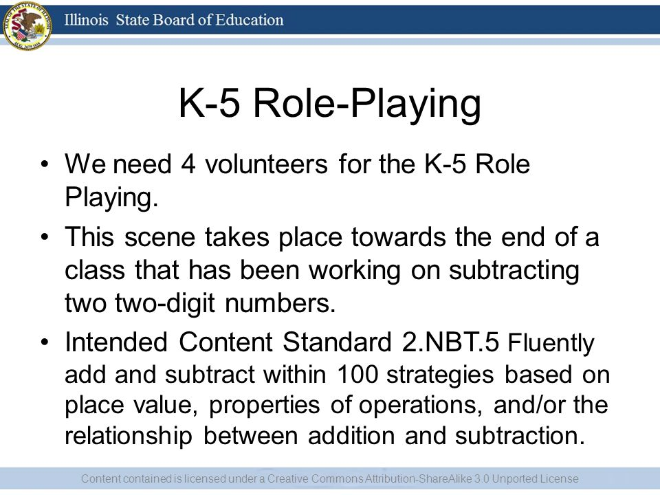 K-5 Role-Playing We need 4 volunteers for the K-5 Role Playing. This scene takes place towards the end of a class that has been working on subtracting
