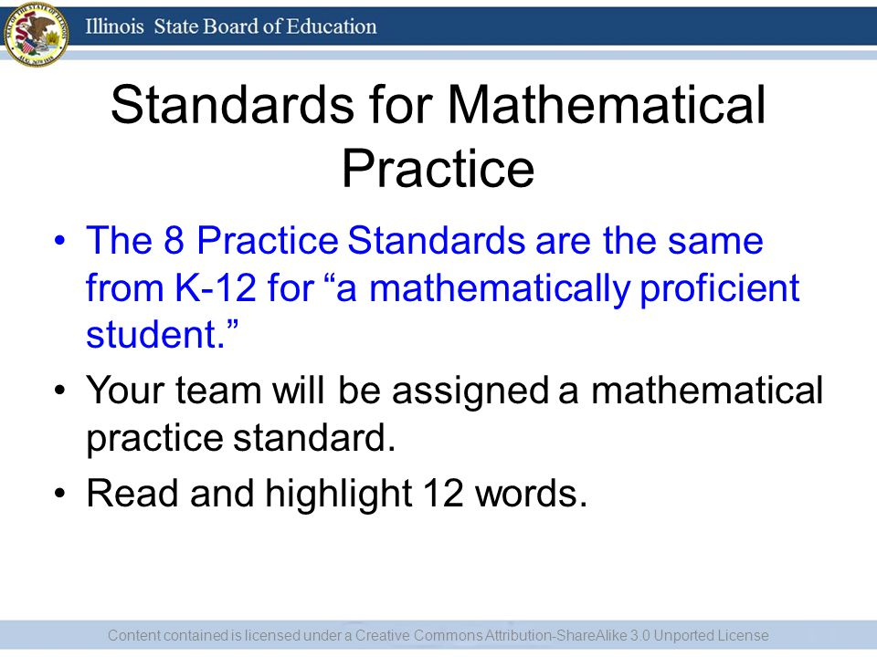 "Standards for Mathematical Practice The 8 Practice Standards are the same from K-12 for ""a mathematically proficient student."" Your team will be assig"