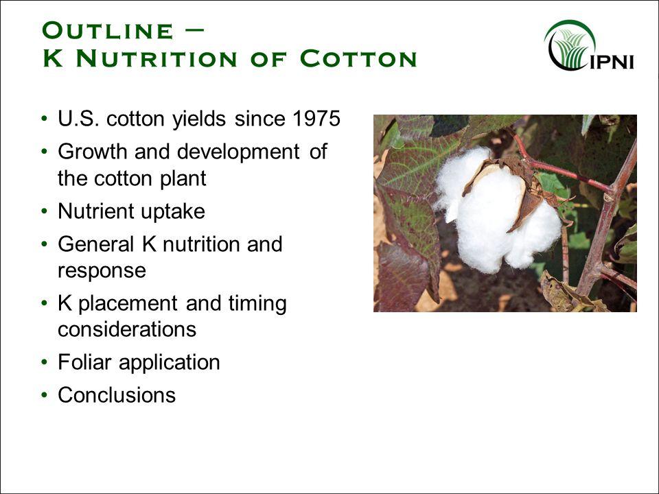Outline – K Nutrition of Cotton U.S.