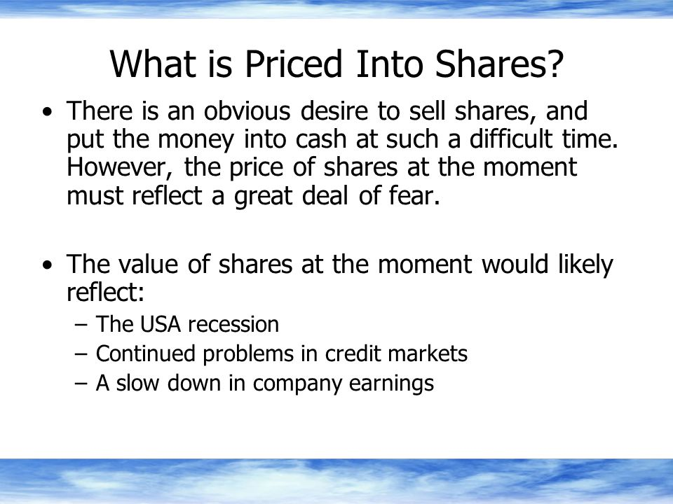 What is Priced Into Shares.
