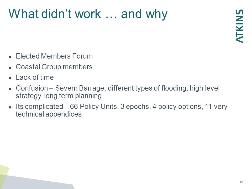 What didn't work … and why ● Elected Members Forum ● Coastal Group members ● Lack of time ● Confusion – Severn Barrage, different types of flooding, h