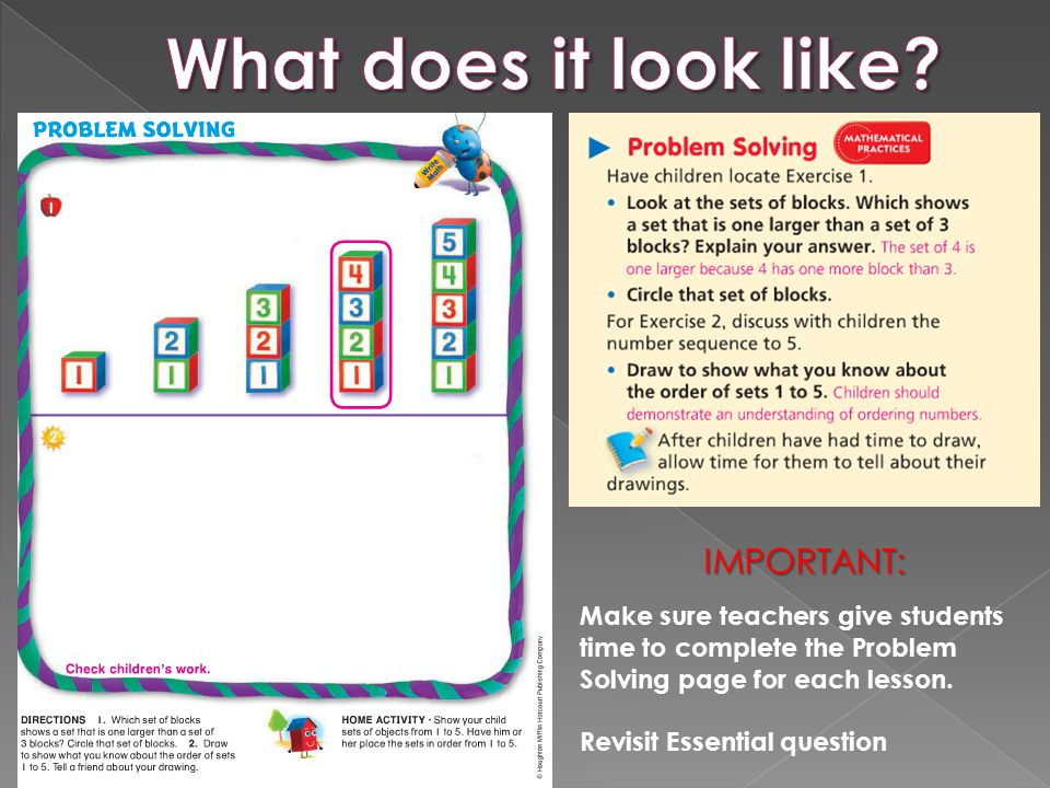 IMPORTANT: Make sure teachers give students time to complete the Problem Solving page for each lesson. Revisit Essential question