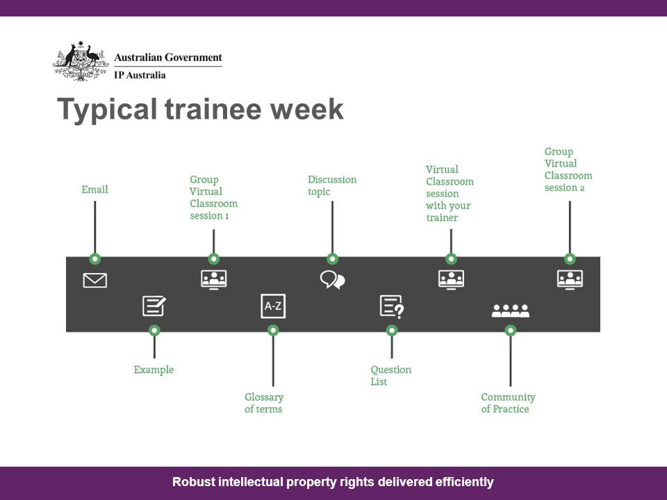 Robust intellectual property rights delivered efficiently Typical trainee week
