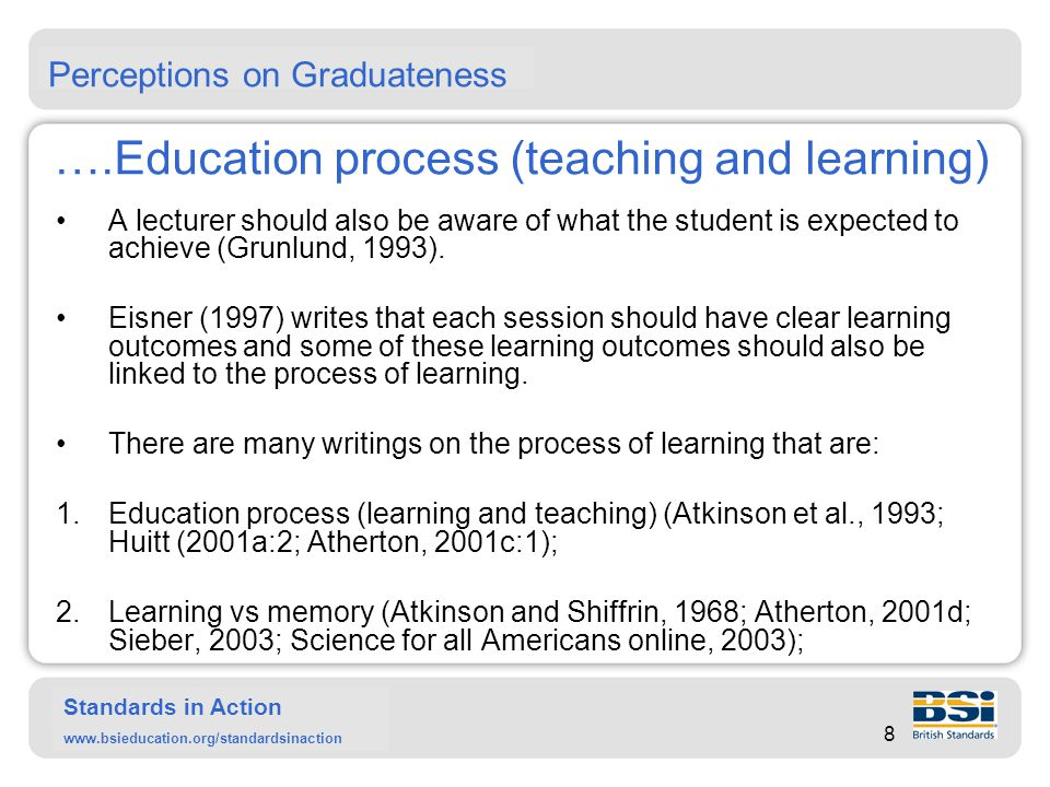 Standards in Action www.bsieducation.org/standardsinaction ….Education process (teaching and learning) A lecturer should also be aware of what the student is expected to achieve (Grunlund, 1993).