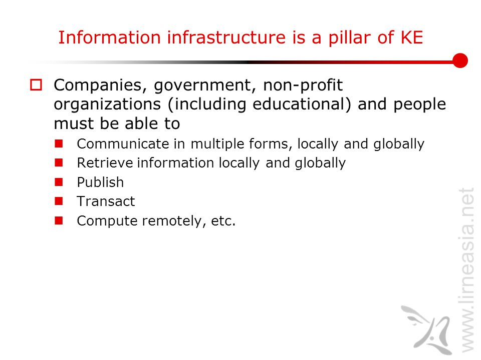 www.lirneasia.net Information infrastructure is a pillar of KE  Companies, government, non-profit organizations (including educational) and people mu
