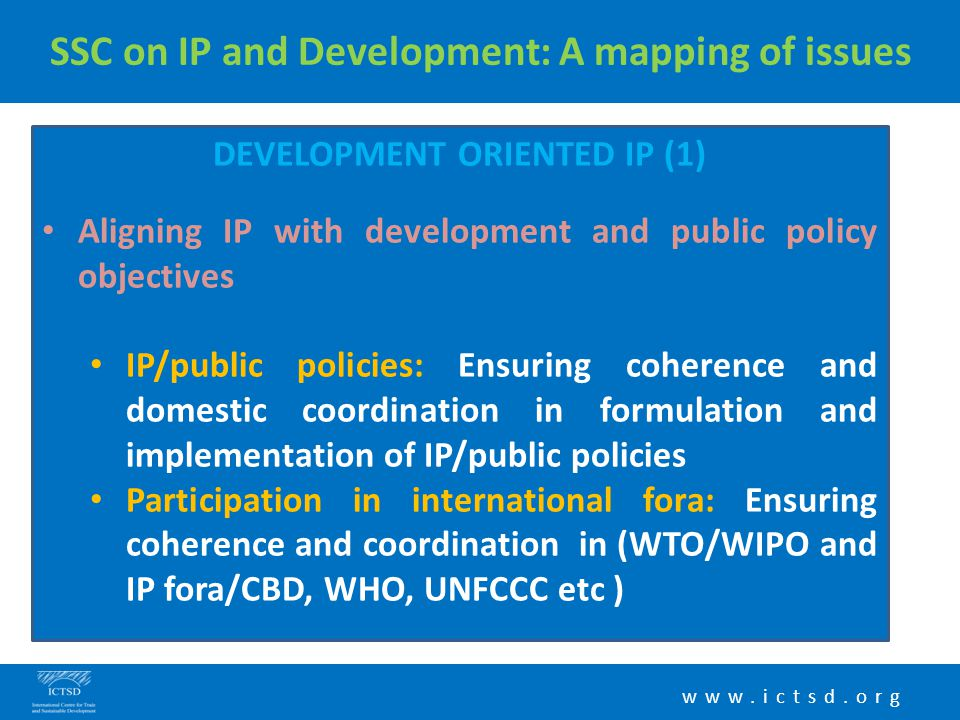 www.ictsd.org SSC on IP and Development: A mapping of issues DEVELOPMENT ORIENTED IP (1) Aligning IP with development and public policy objectives IP/