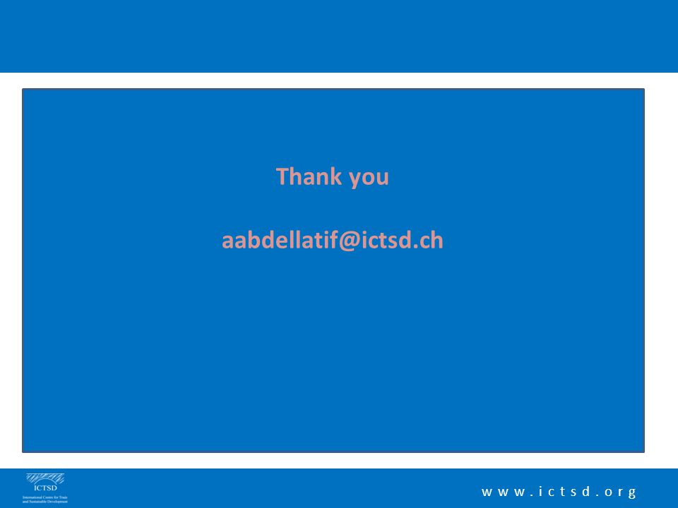 www.ictsd.org Thank you aabdellatif@ictsd.ch