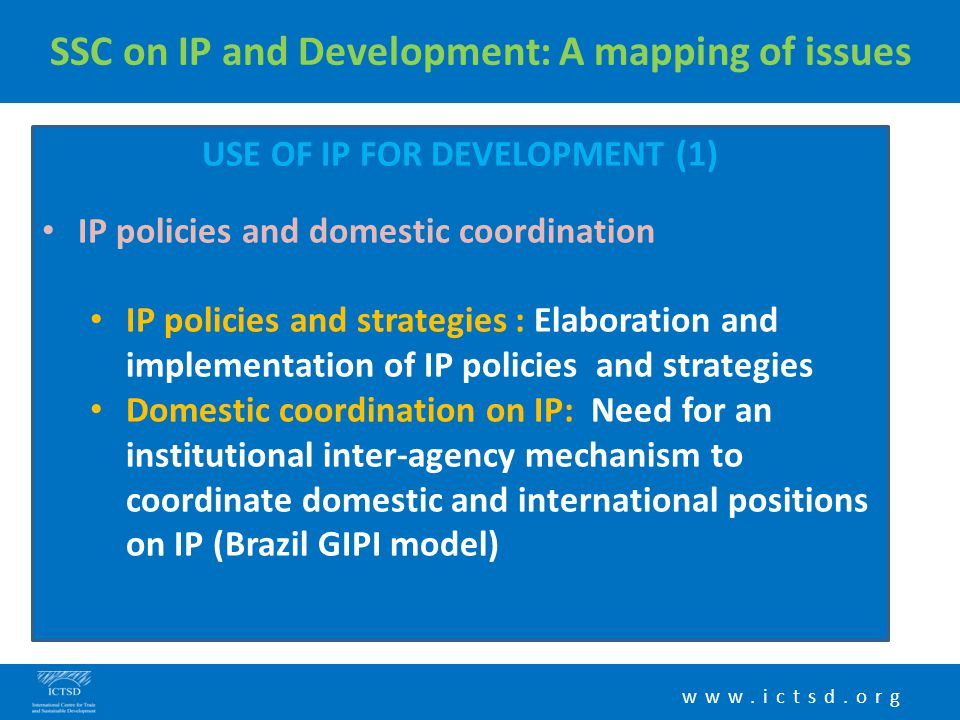 www.ictsd.org SSC on IP and Development: A mapping of issues USE OF IP FOR DEVELOPMENT (1) IP policies and domestic coordination IP policies and strat