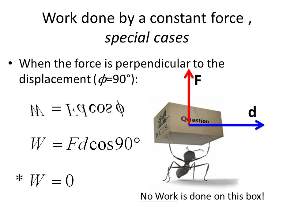 Work done by a constant force, special cases When the force is perpendicular to the displacement ( ϕ =90°): F d No Work is done on this box!