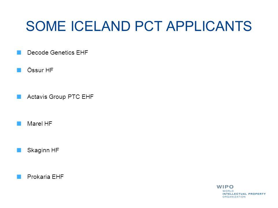 SOME ICELAND PCT APPLICANTS Decode Genetics EHF Össur HF Actavis Group PTC EHF Marel HF Skaginn HF Prokaria EHF
