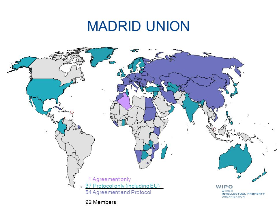 MADRID UNION 1 Agreement only 37 Protocol only (including EU) 54 Agreement and Protocol 92 Members
