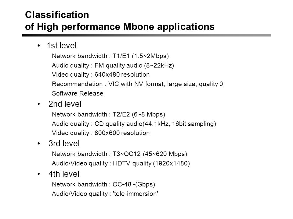 Classification of High performance Mbone applications 1st level Network bandwidth : T1/E1 (1.5~2Mbps) Audio quality : FM quality audio (8~22kHz) Video quality : 640x480 resolution Recommendation : VIC with NV format, large size, quality 0 Software Release 2nd level Network bandwidth : T2/E2 (6~8 Mbps) Audio quality : CD quality audio(44.1kHz, 16bit sampling) Video quality : 800x600 resolution 3rd level Network bandwidth : T3~OC12 (45~620 Mbps) Audio/Video quality : HDTV quality (1920x1480) 4th level Network bandwidth : OC-48~(Gbps) Audio/Video quality : tele-immersion