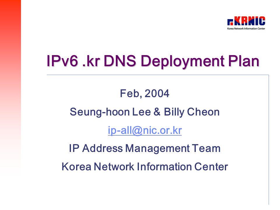 IPv6.kr DNS Deployment Plan Feb, 2004 Seung-hoon Lee & Billy Cheon ip-all@nic.or.kr IP Address Management Team Korea Network Information Center