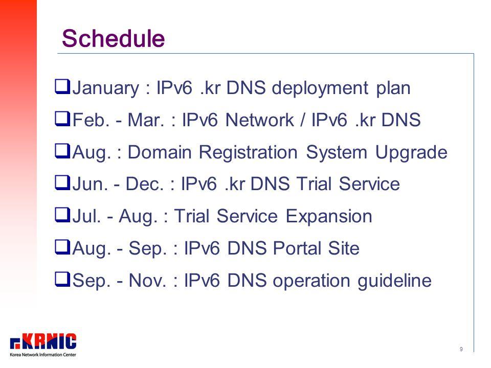 9 Schedule  January : IPv6.kr DNS deployment plan  Feb.