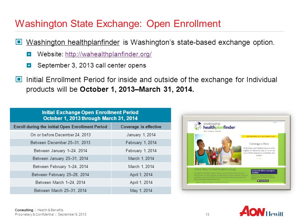 Consulting | Health & Benefits Proprietary & Confidential | September 9, 2013 13 Washington State Exchange: Open Enrollment Washington healthplanfinde