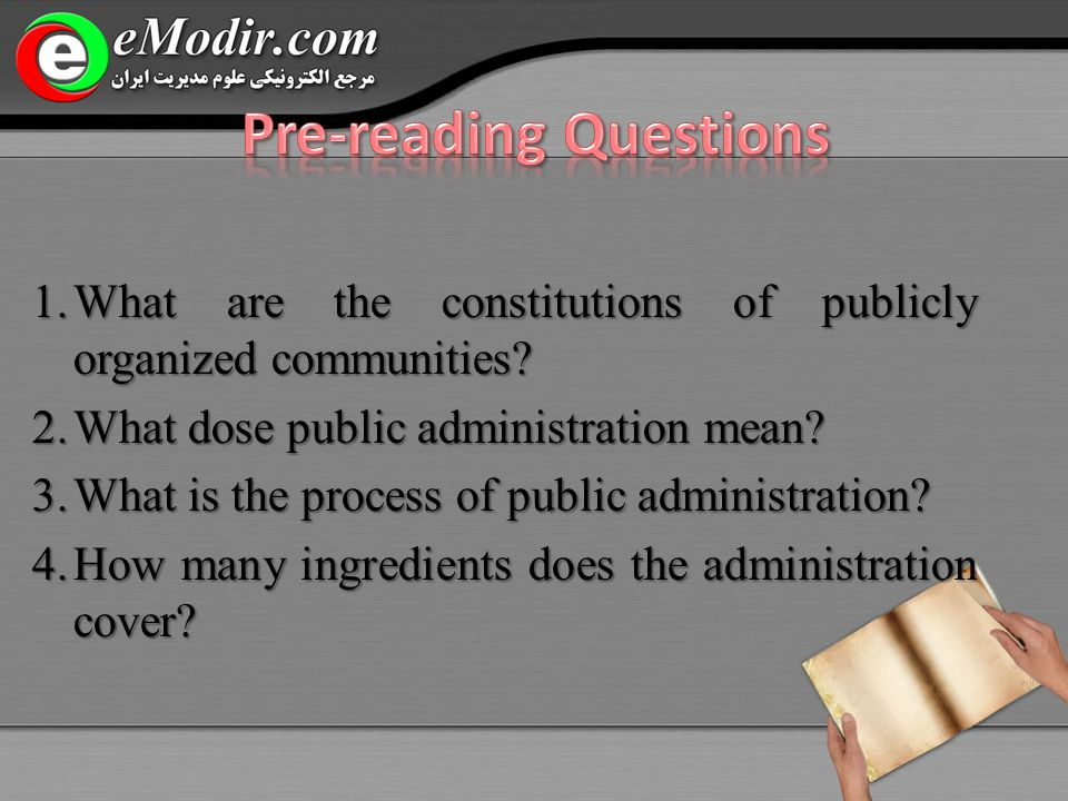 1.What are the constitutions of publicly organized communities.