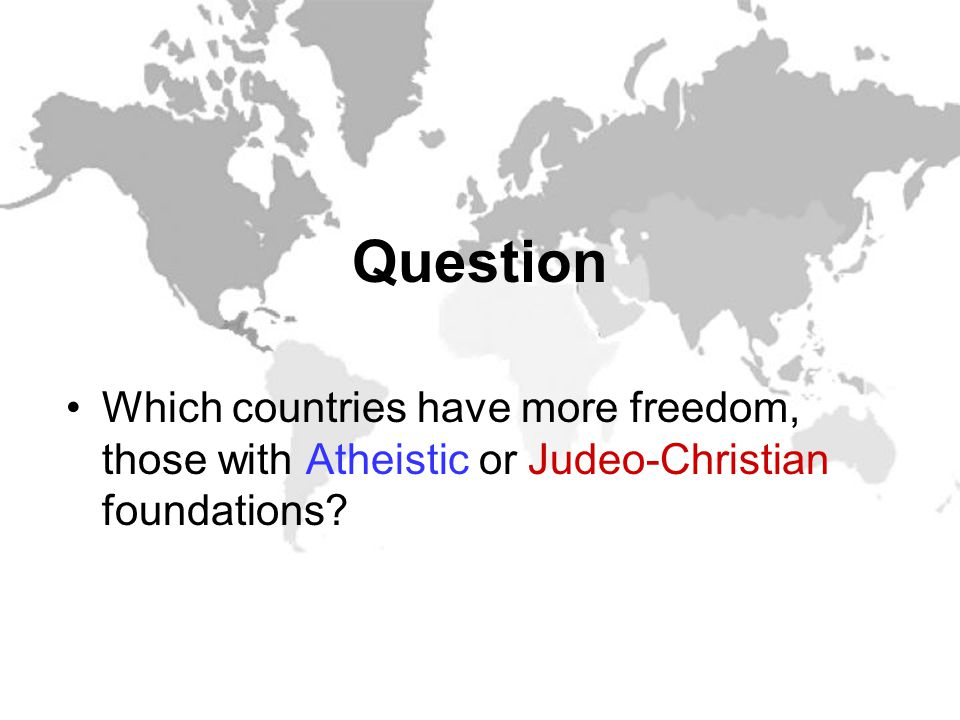 What Kind of Nation One nation under God God referenced as source of our liberty Legal code based on Ten Commandments Prayer in public life Judeo-Christian Nation One nation under man Enlightenment is source of freedom Legal code based on tyranny of the courts Prayer and Ten Commandments removed from public life Secular Nation