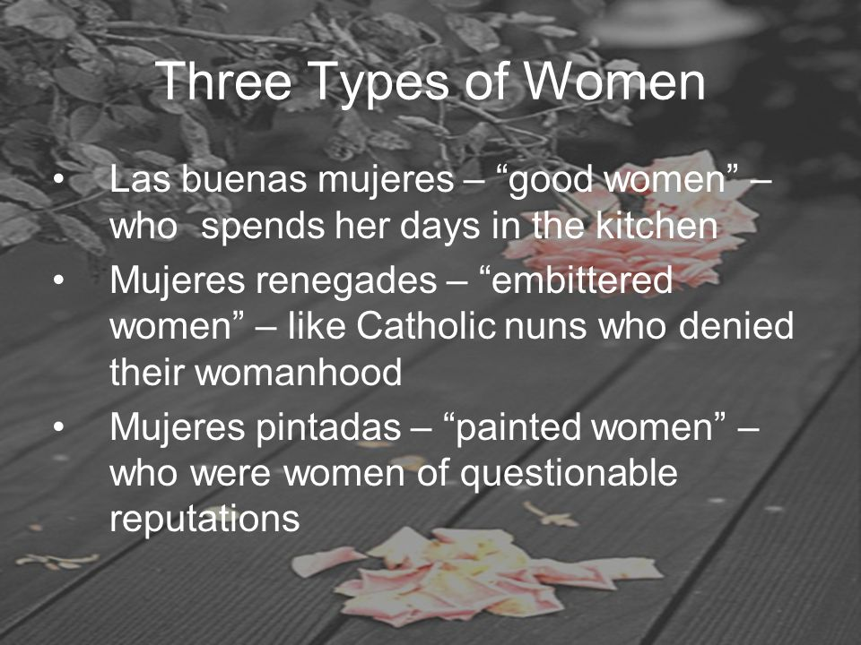 "Three Types of Women Las buenas mujeres – ""good women"" – who spends her days in the kitchen Mujeres renegades – ""embittered women"" – like Catholic nun"