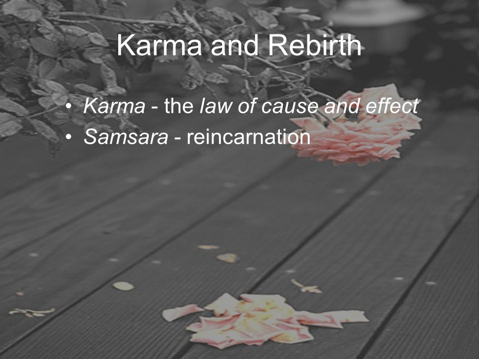 Karma and Rebirth Karma - the law of cause and effect Samsara - reincarnation