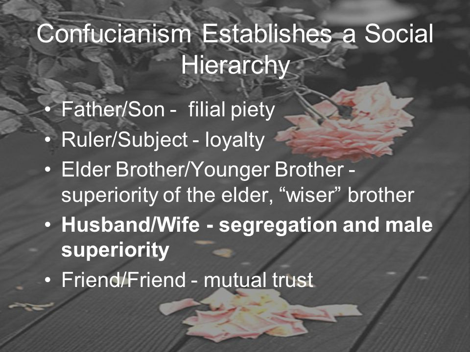 Confucianism Establishes a Social Hierarchy Father/Son - filial piety Ruler/Subject - loyalty Elder Brother/Younger Brother - superiority of the elder