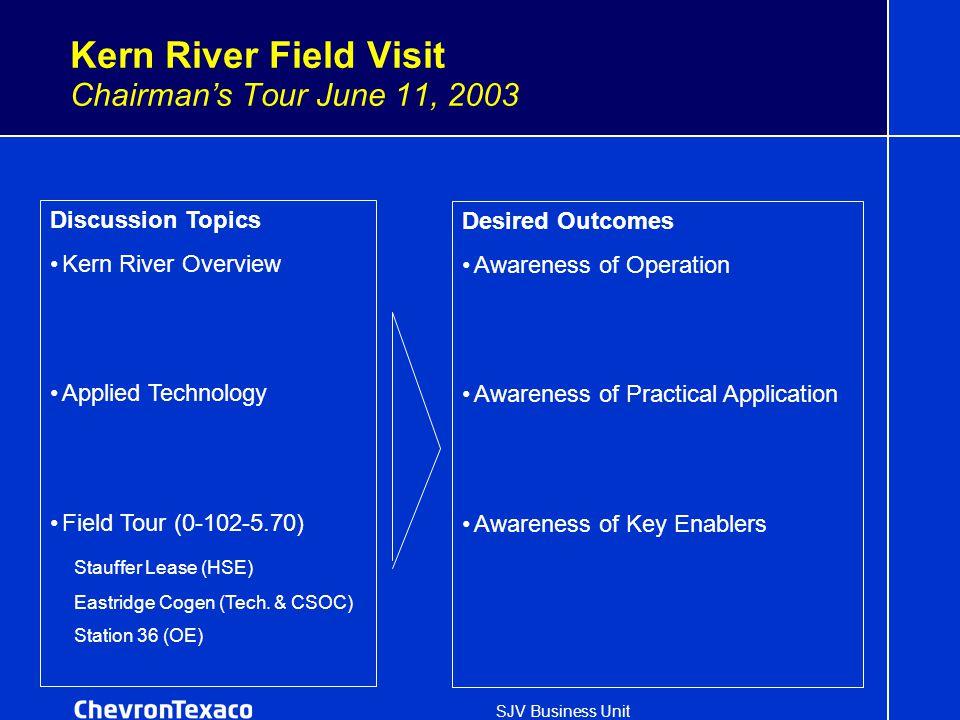 SJV Business Unit Kern River Field Visit Chairman's Tour June 11, 2003 Discussion Topics Kern River Overview Applied Technology Field Tour (0-102-5.70) Stauffer Lease (HSE) Eastridge Cogen (Tech.