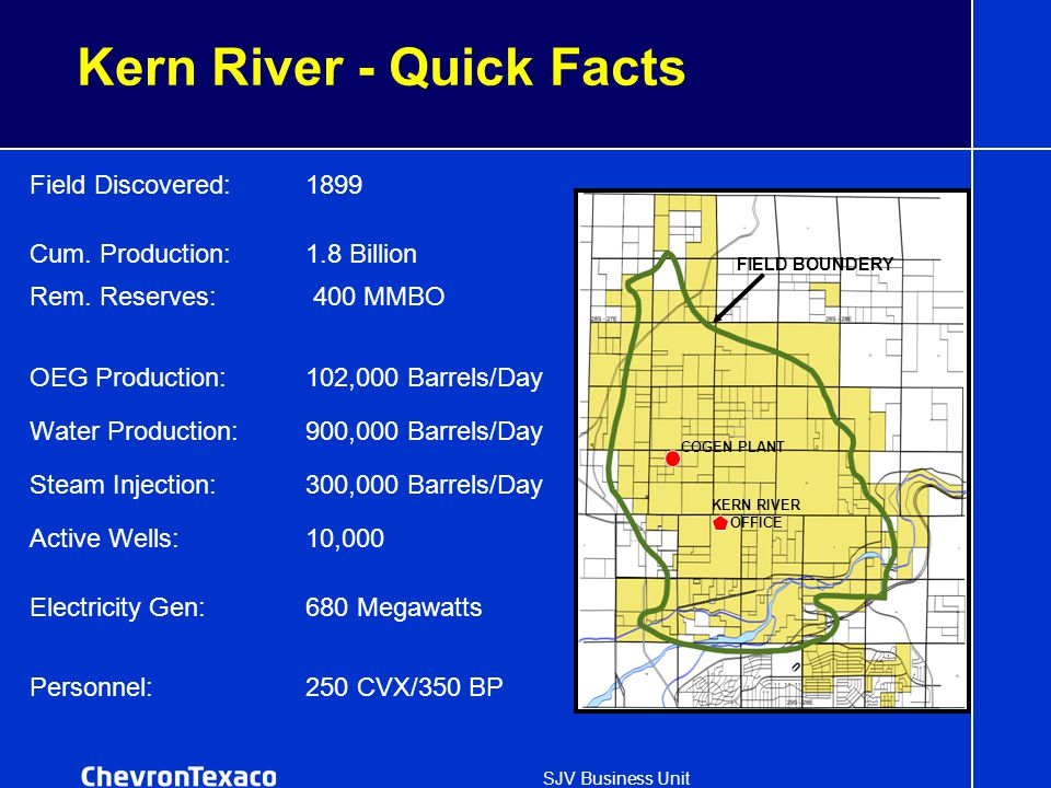 SJV Business Unit Kern River - Quick Facts Field Discovered:1899 Cum. Production:1.8 Billion Rem. Reserves: 400 MMBO OEG Production:102,000 Barrels/Da