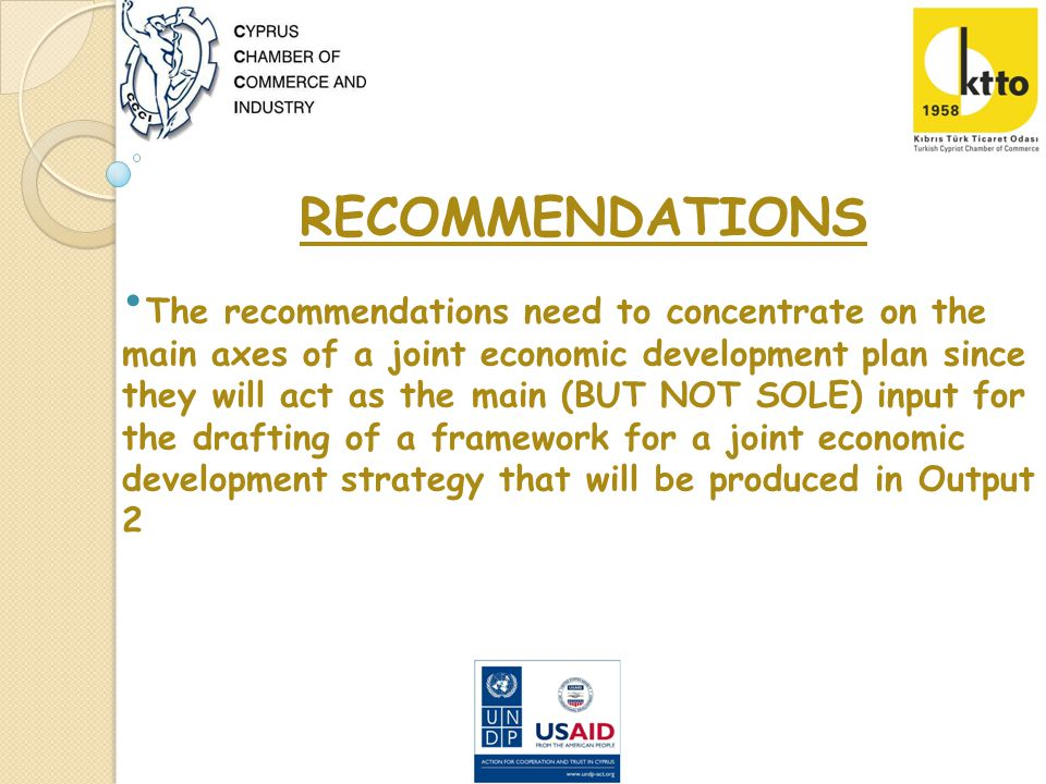 RECOMMENDATIONS The recommendations need to concentrate on the main axes of a joint economic development plan since they will act as the main (BUT NOT SOLE) input for the drafting of a framework for a joint economic development strategy that will be produced in Output 2