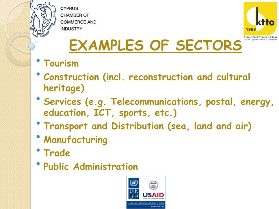 EXAMPLES OF SECTORS Tourism Construction (incl.