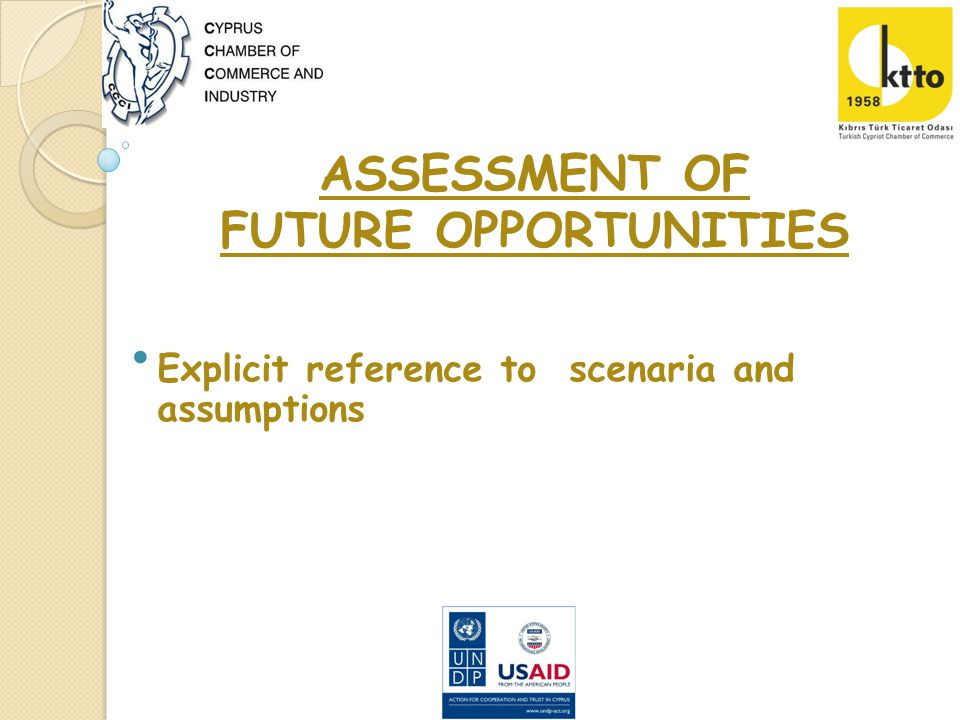 ASSESSMENT OF FUTURE OPPORTUNITIES Explicit reference to scenaria and assumptions