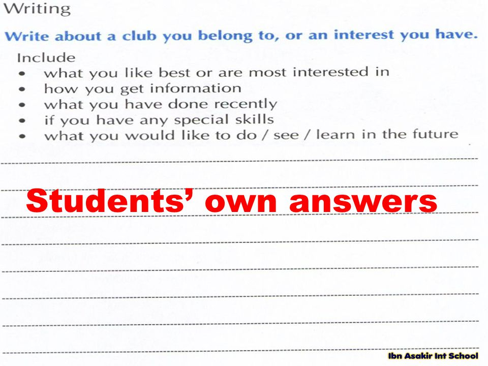 Students' own answers