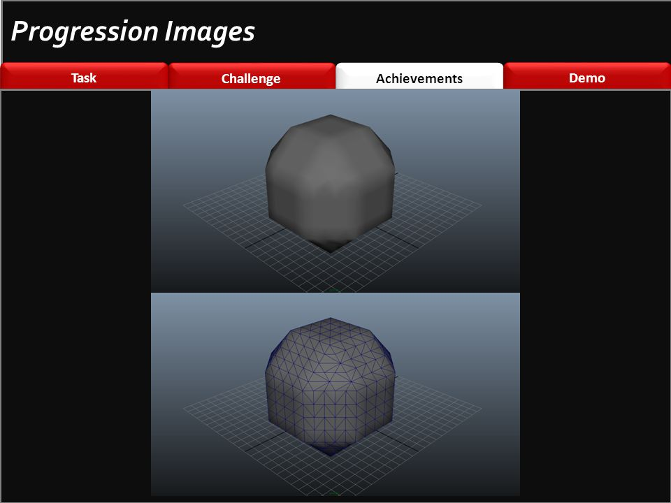 Challenge \nted Challenge \nted Achievements Demo Task Progression Images