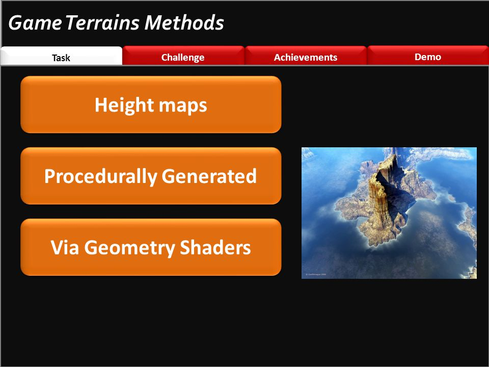 Task Challenge \nted Challenge \nted Achievements Demo Game Terrains Methods Via Geometry Shaders Height maps Procedurally Generated