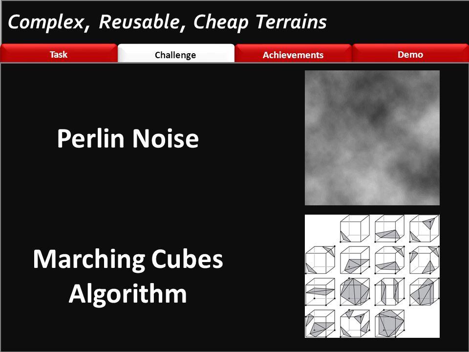 Challenge \nted Challenge \nted Achievements Demo Task Complex, Reusable, Cheap Terrains Perlin Noise Marching Cubes Algorithm